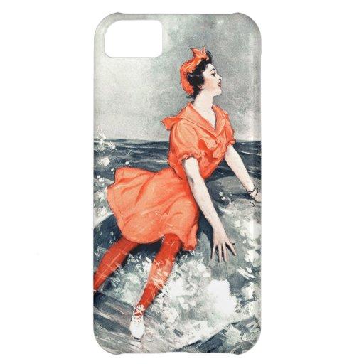 Vestido anaranjado de la ola oceánica del mar de l funda para iPhone 5C