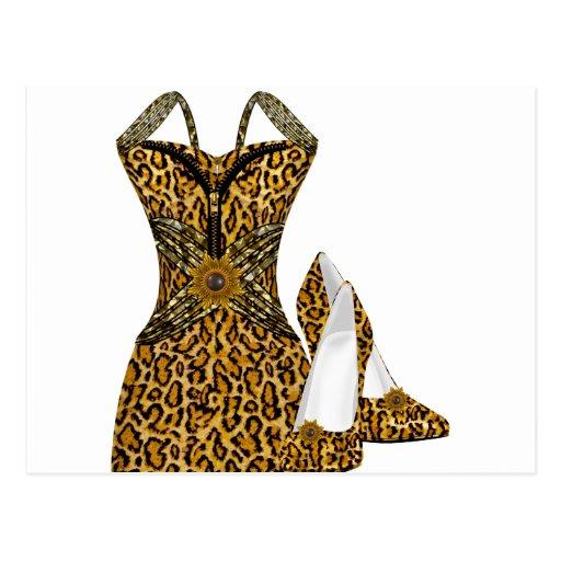 Vestido animal de los zapatos del tacón alto del l postal