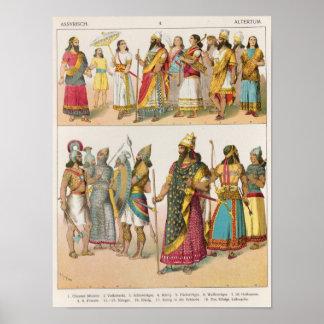 """Vestido asirio, del """"der Voelker de Trachten"""", 186 Póster"""