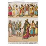 """Vestido asirio, del """"der Voelker de Trachten"""", 186 Tarjetón"""