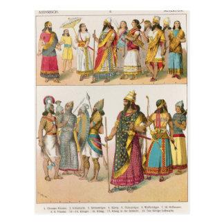 """Vestido asirio, del """"der Voelker de Trachten"""", Tarjetas Postales"""