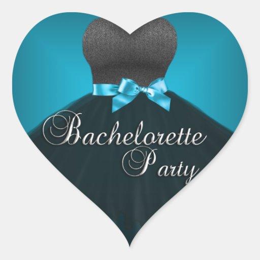 Vestido azul del trullo del fiesta de Bachelorette Pegatina En Forma De Corazón