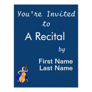 """Vestido azul femenino del bajista de la orquesta invitación 4.25"""" x 5.5"""""""