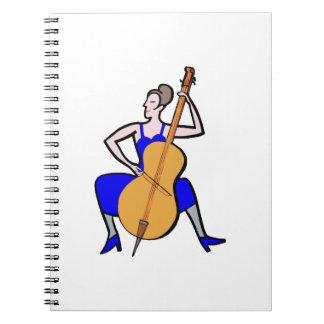 Vestido azul femenino del bajista de la orquesta libros de apuntes con espiral