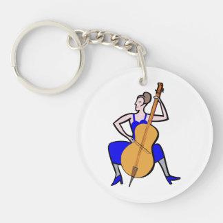 Vestido azul femenino del bajista de la orquesta llavero redondo acrílico a doble cara