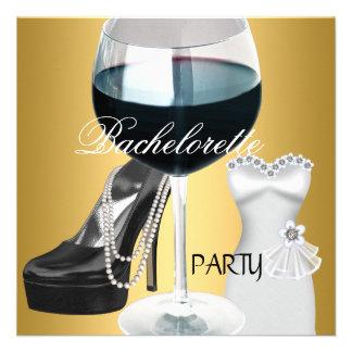 Vestido blanco del negro del oro del vino del fies invitación personalizada