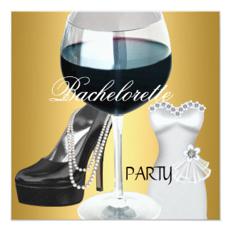 Vestido blanco del negro del oro del vino del invitación personalizada