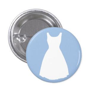 Vestido blanco en el botón azul claro pin redondo de 1 pulgada
