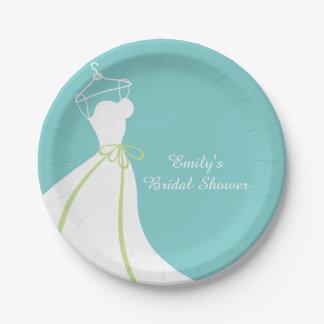 Vestido de boda, azul, ducha nupcial plato de papel de 7 pulgadas