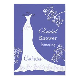 Vestido de boda blanco, remolinos en ducha nupcial invitación 11,4 x 15,8 cm