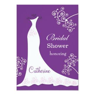 """Vestido de boda blanco, remolinos en ducha nupcial invitación 4.5"""" x 6.25"""""""
