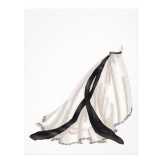 """Vestido de boda blanco y negro folleto 8.5"""" x 11"""""""