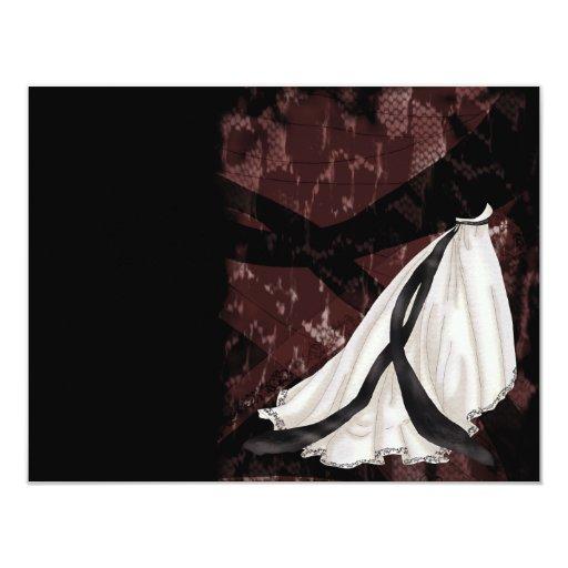 """Vestido de boda blanco y negro invitación 4.25"""" x 5.5"""""""