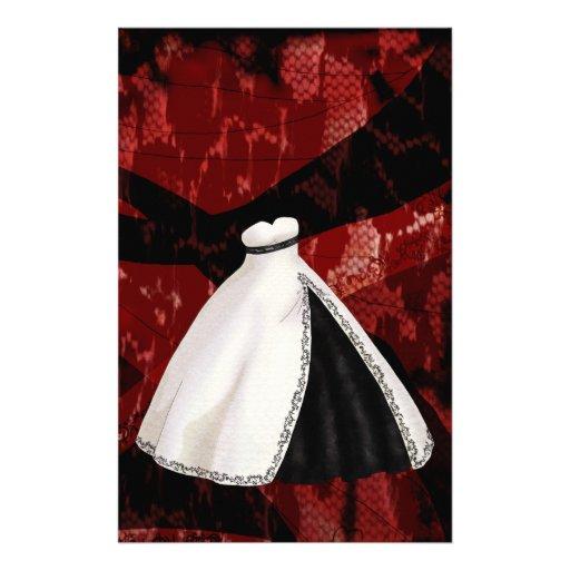 Vestido de boda blanco y negro personalized stationery