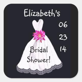 Vestido de boda conocido de encargo de la fecha de pegatina cuadrada