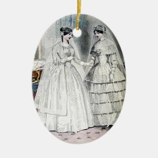 Vestido de boda de la novia del vintage adorno navideño ovalado de cerámica