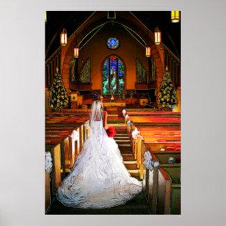 Vestido de boda del blanco puro del navidad blanco poster