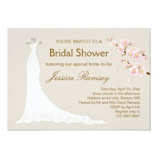 """Vestido de boda, ducha nupcial de la flor de invitación 5"""" x 7"""""""