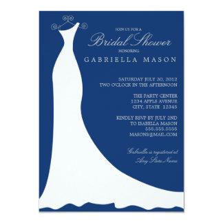"""Vestido de boda el   azul marino invitación 4.5"""" x 6.25"""""""