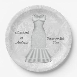 Vestido de boda elegante de las novias plato de papel de 9 pulgadas
