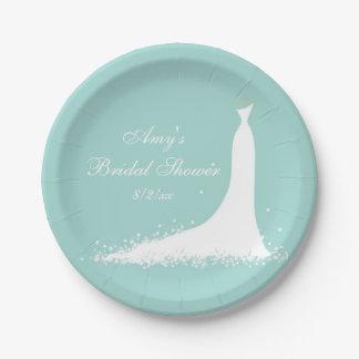 Vestido de boda elegante, placas de papel de la plato de papel de 7 pulgadas