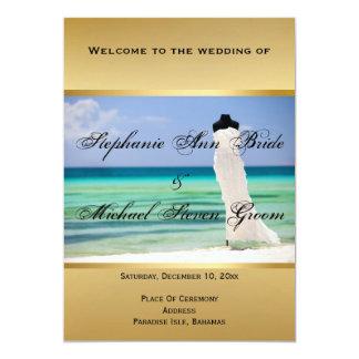"""Vestido de boda en la tarjeta de programa de la invitación 5"""" x 7"""""""