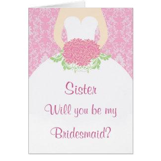Vestido de boda, flores, dama de honor rosada del  tarjeton