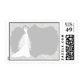 Vestido de boda, gris, melocotón sello postal