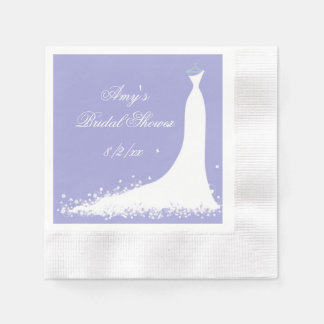 Vestido de boda hermoso, ducha nupcial, servilletas de papel