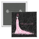 Vestido de boda negro y cordón blancos y rosados d pins