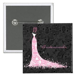 Vestido de boda negro y cordón blancos y rosados d pin cuadrada 5 cm