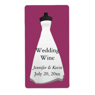 Vestido de boda que casa la mini etiqueta del vino etiqueta de envío