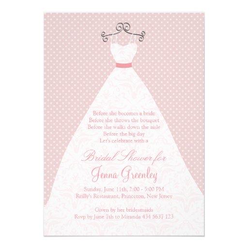 Vestido de boda, rosas, lunares rosados invitación personalizada