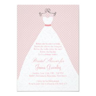 """Vestido de boda, rosas, lunares rosados invitación 5"""" x 7"""""""