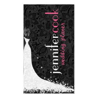 Vestido de boda y cordón negros y blancos 2a del v tarjetas de visita