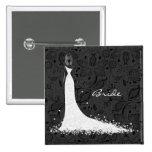 Vestido de boda y cordón negros y blancos del vint