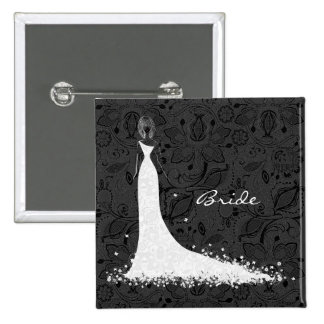 Vestido de boda y cordón negros y blancos del vint pin cuadrada 5 cm