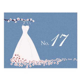 Vestido de boda y flor de cerezo, lunares tarjetas postales