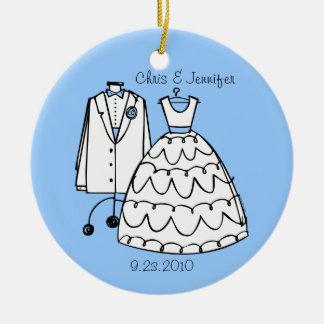 Vestido de boda y ornamento personalizado Tux Ornamentos De Reyes Magos