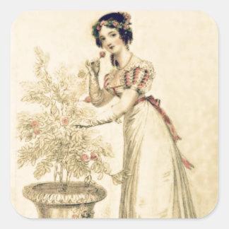 Vestido de bola de la regencia de Jane Austen Pegatina Cuadradas Personalizadas