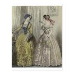 Vestido de bola de preguerra de las señoras de la  tarjeta postal