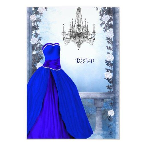 Vestido de bola Quinceanera subió azules marinos Invitación 8,9 X 12,7 Cm