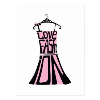 "Vestido de la mujer de palabras ""amo la moda "" tarjetas postales"