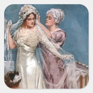 Vestido de la novia pegatina cuadrada