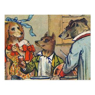 Vestido de los perros del vintage para el Mealtime Tarjetas Postales