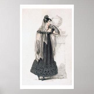 Vestido de luto, placa de moda del representante d póster