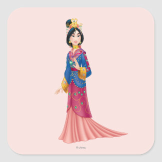 Vestido de Mulan Pegatina Cuadrada