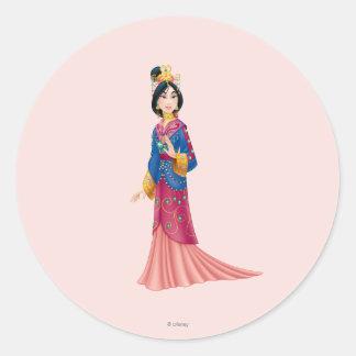 Vestido de Mulan Pegatina Redonda