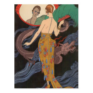 Vestido de noche de Dogaresse de George Barbier Postales