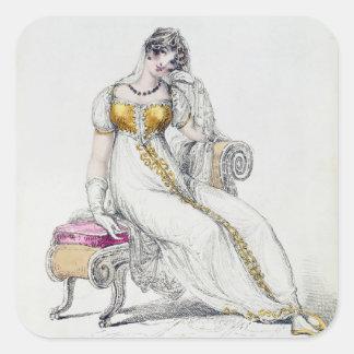 Vestido de noche o vestido de boda, placa de moda  pegatinas cuadradases